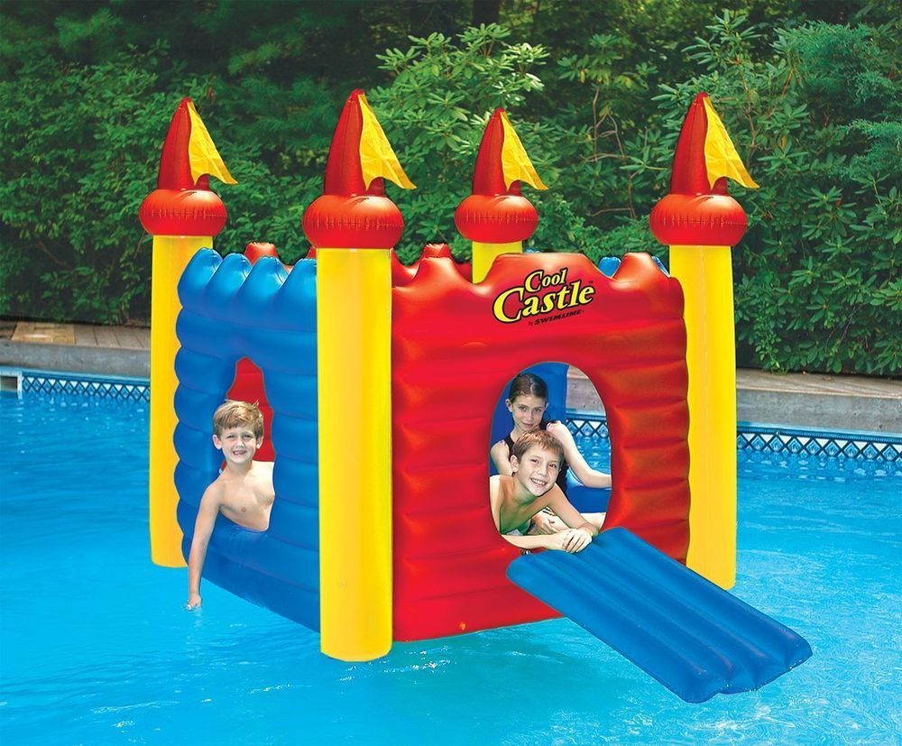 Swimming Pool Fort Inflatable Castle Habitat Floating Raft Island Water Slide Pool Toys For Kids Swimming Pool Toys Pool Toys