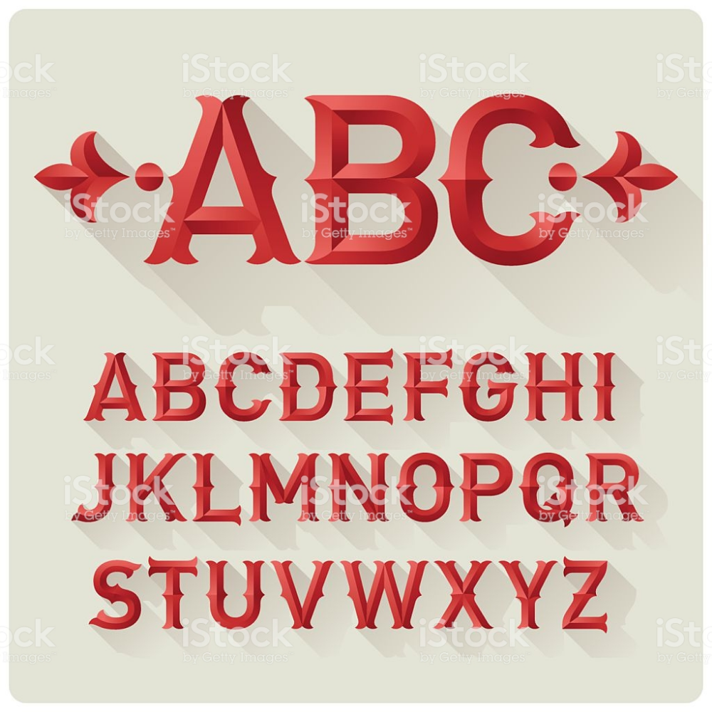 Elegant Retro Style Red Font Set With Flat Shadow Effect Beveled In 2020 Font Setting Retro Font Retro