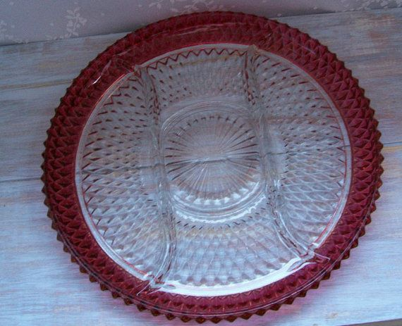 Ruby Flash/Diamond Point platter Free Shipping by bluefieldvintage, $28.75