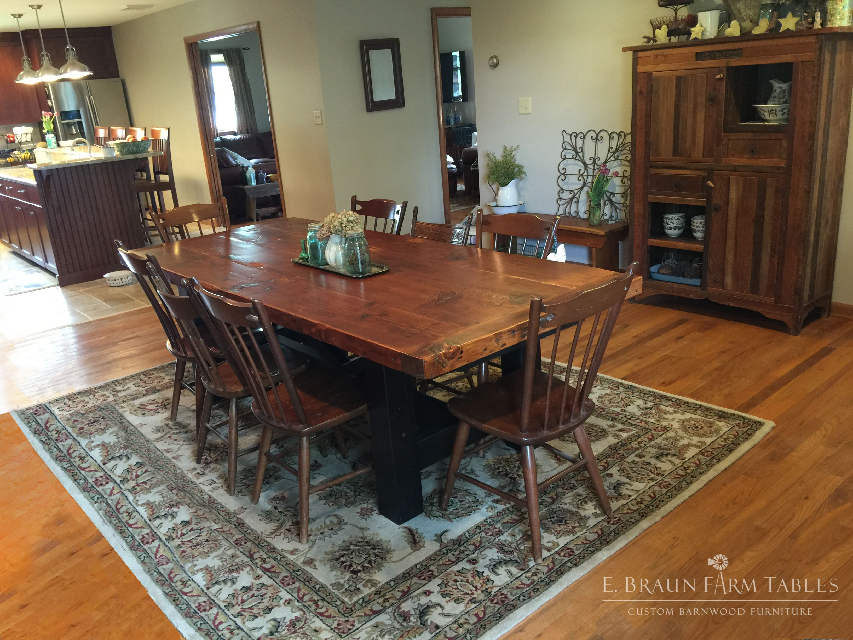8 L 3 Thick Natural Colored Reclaimed Fir Table Top On An
