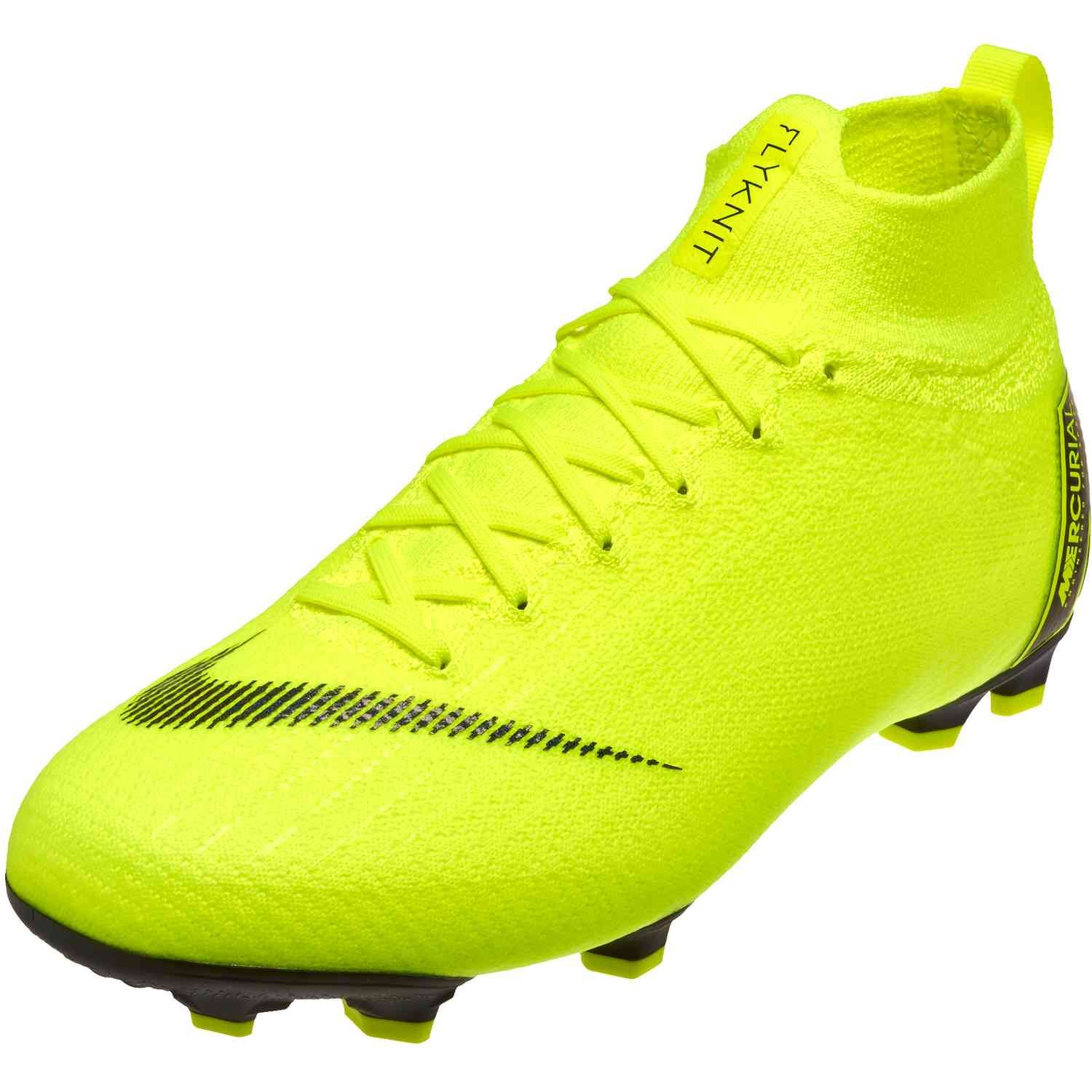 Kids Nike Superfly 6 Elite Fg Soccer Cleats Volt And Black Soccerpro Cool Football Boots Kids Soccer Cleats Soccer Cleats