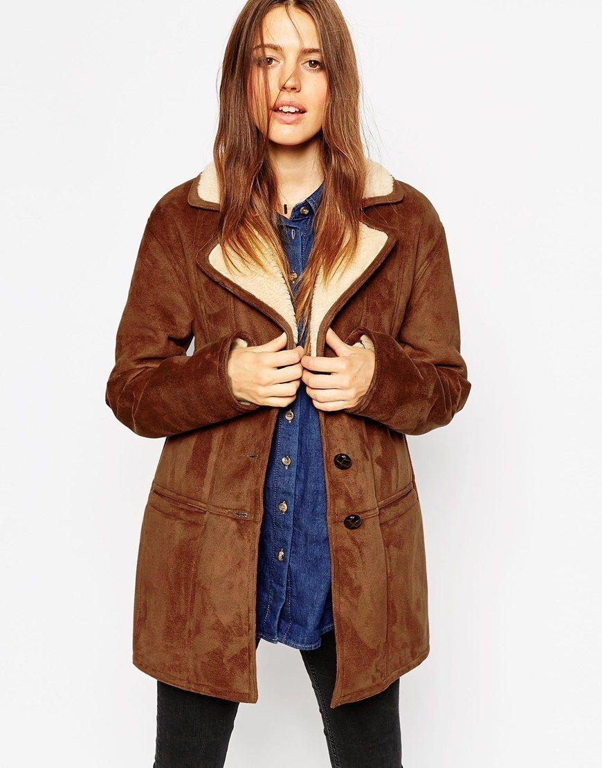 Mantel mit lammfell optik