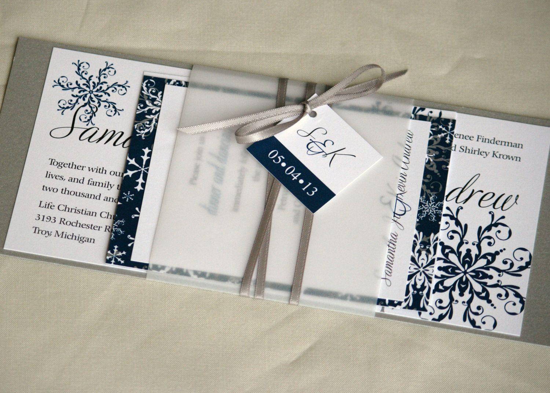Winter Snowflake Unique Custom Layered Wedding Invitation@Lynn ...