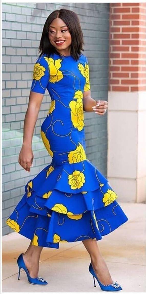 cc4a18629ef5 African print midi dress -Ankara dress-Midi dress- dress-Ankara dress with  peplum details -African c