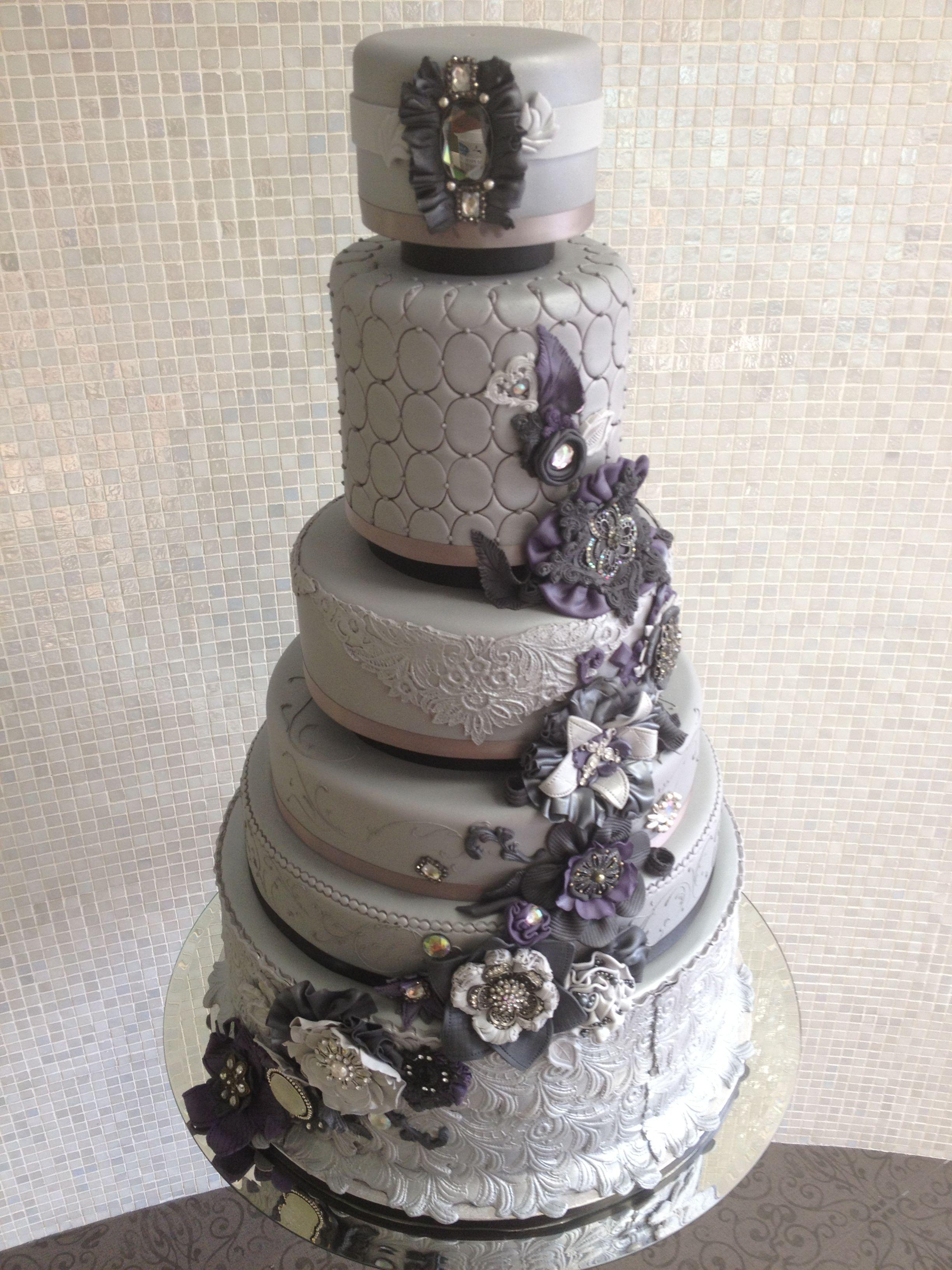 Grey and purple vintage wedding cake