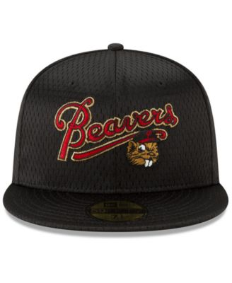22a230782d8379 New Era Portland Beavers Batting Practice Mesh 59FIFTY-fitted Cap - Black 7  1/8