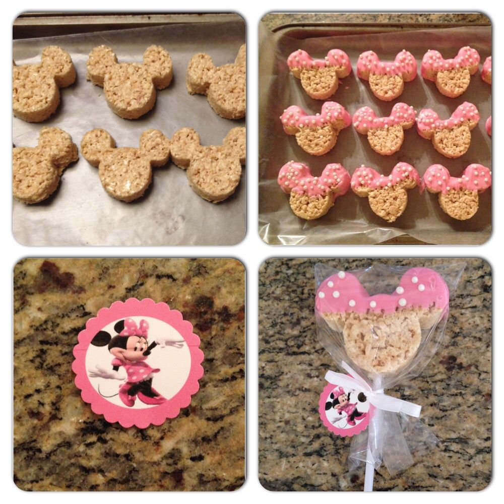 Minnie Mouse Rice Krispie Treats Dipped In Pink Chocolate Minnie Birthday Party Minnie Mouse 1st Birthday Minnie Mouse Birthday Party