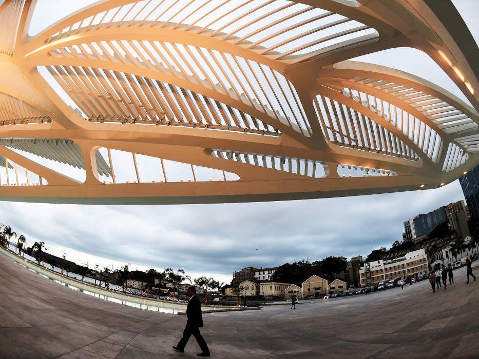 Vista do Museu do Amanhã, na Praça Mauá, Zona Portuária do Rio de Janeiro (RJ), neste sábado (19)