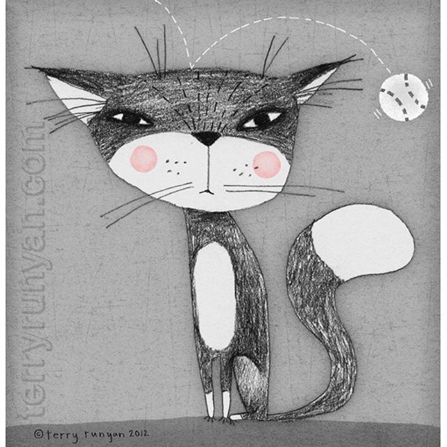 annoyed yoda terryrunyan cat catillustration catsofinstagram print artprints drawing