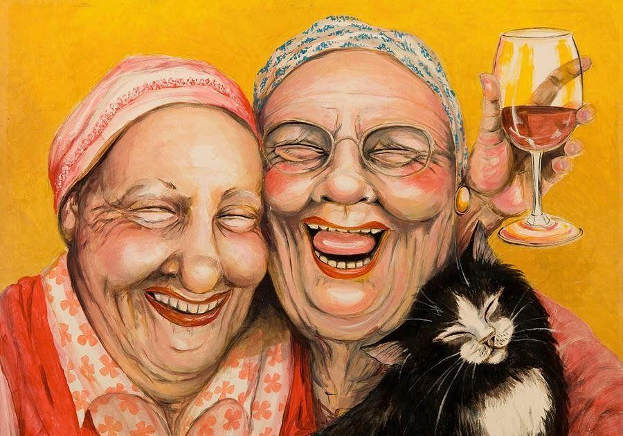 Веселые картинки о дружбе старых подруг, торта