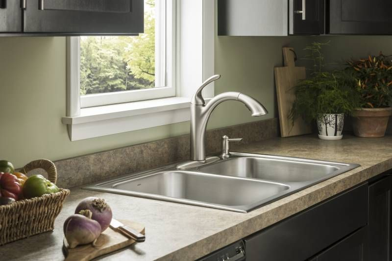 A Simple Double Drop In Sink In Stainless Steel By Moen Faucet
