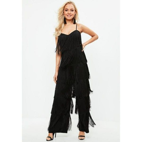 a09a24bdbee Missguided All Over Fringe Jumpsuit ( 94) ❤ liked on Polyvore featuring  jumpsuits
