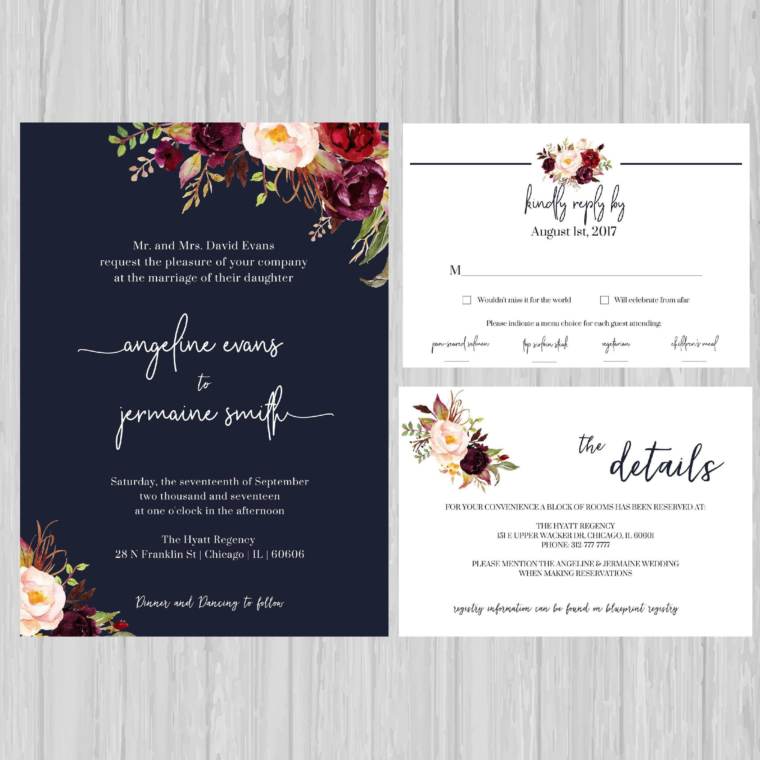 Navy Floral Wedding Invitations, Navy Wedding Invite, Marsala ...