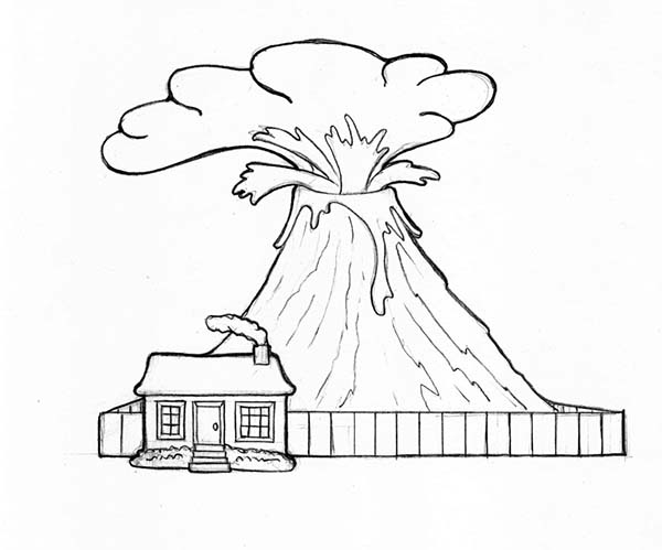 Volcano And Watch House Coloring Page Netart In 2020 House Colouring Pages Coloring Pages Coloring Pictures
