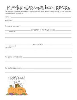 pumpkin book report template  Pumpkin Character Book Report Form | Book report templates ...
