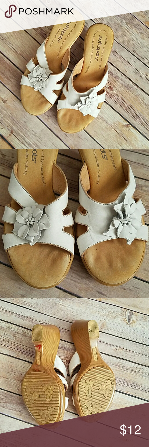 Softspots White Wedge Sandals Flowers Sz 65 White Wedge Sandals