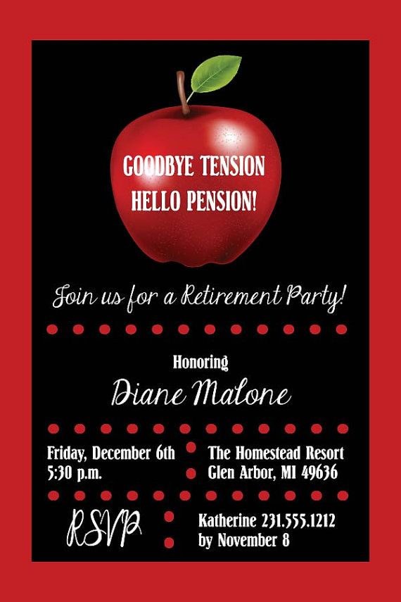 Apple Teacher Retirement Party Invitation Retirement Invite