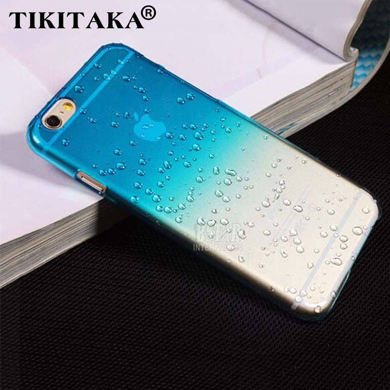 Ultra-delgada Creativa agua gota de lluvia gota de lluvia 3D duro de la contraportada semi-transparente caja del teléfono colorido para iphone 5 se 6 6 s Plus