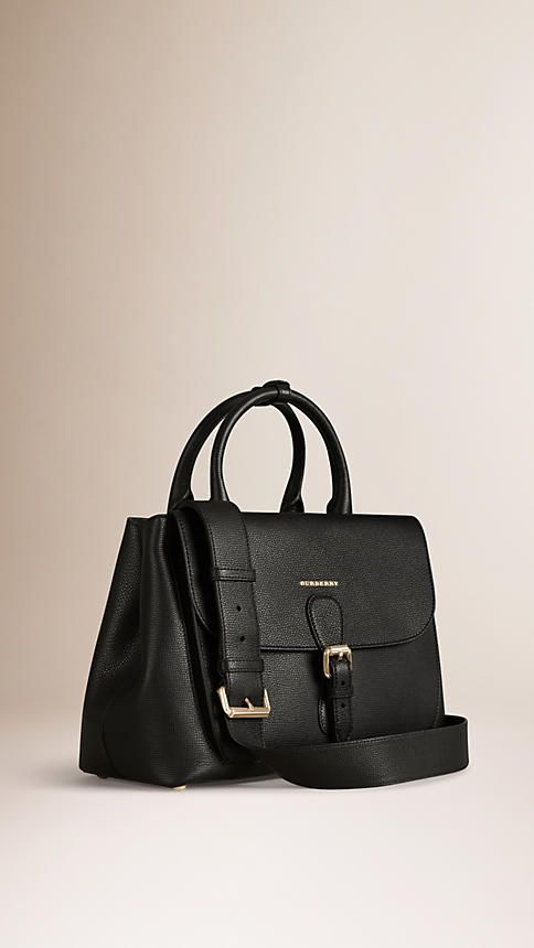 2795.00 Burberry.com Black The Medium Saddle Bag in Grainy Bonded Leather  Black - Image 1 a2cc19b9c6632