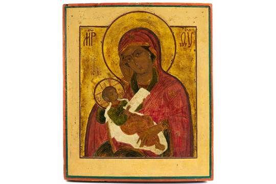 Ikone Temperamalerei auf Kreidegrund, auf Holz, teilweise vergoldet. 34 x 28,8 cm. Russland, um 1