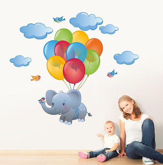 Flying Elephant with Party Balloons Repositionable Fabric Wall Decal Sticker for Nursery, Girls, Boys Room or Playroom, Reusable Decal