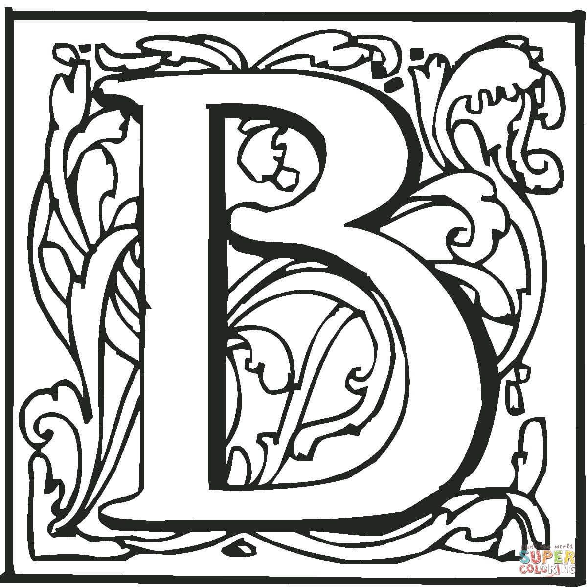 letter b with ornament coloring page from alphabet