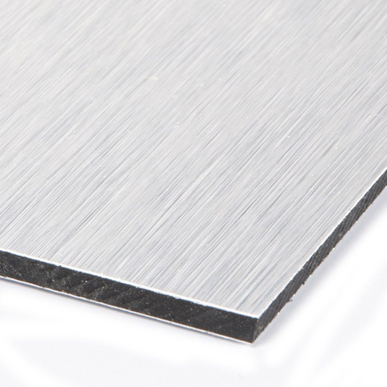 Plaque Composite Aluminium 3 Mm Argent Lisse L 100 X 60 Cm Plaque Pvc Pvc Lisse