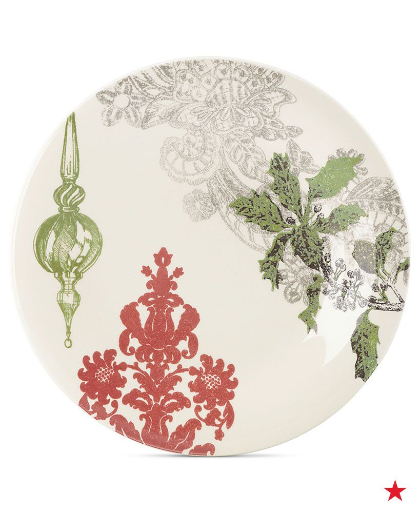 Lenox Vintage Jubilee Ornament accent plates — spread a bit of Christmas spirit with festive fine china for each of your holiday celebrations this season