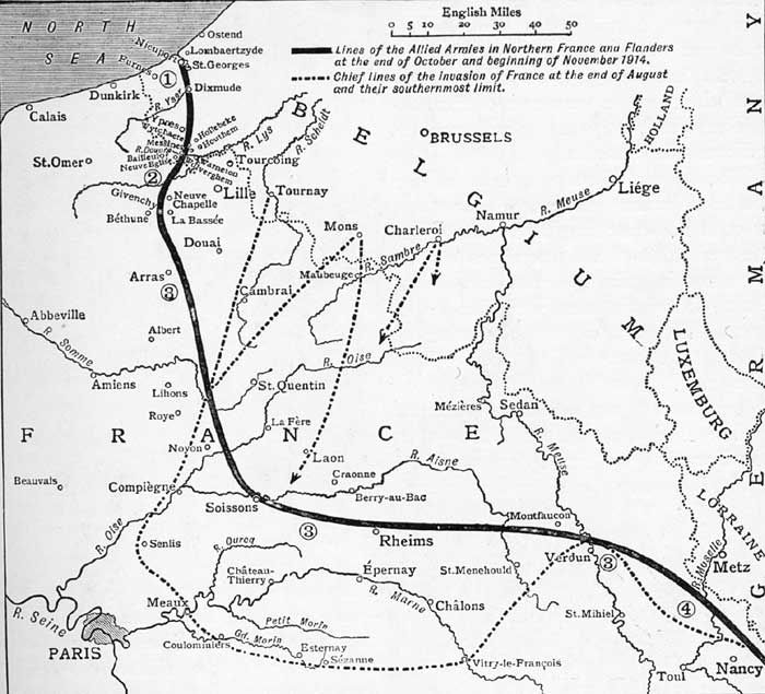 France Western Front line Nov 1914 WWI Maps of France Pinterest - copy world map with ocean trenches