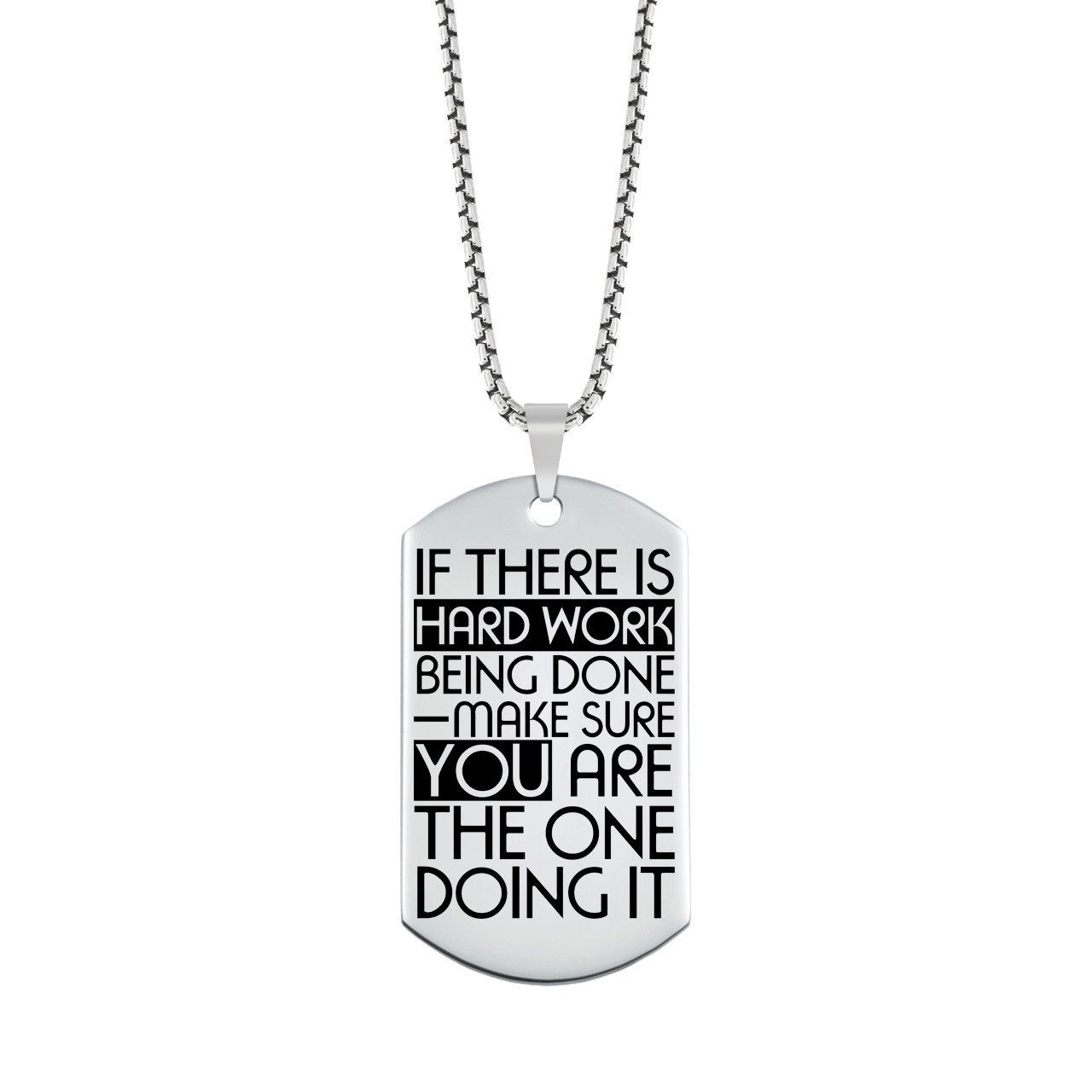 d966c3d23 Inspiration Quote Jewelry   Motivational Quote Dog Tag - Motivational  Jewelry for Men and Women - Personalized Quote Jewelry, Hard Work