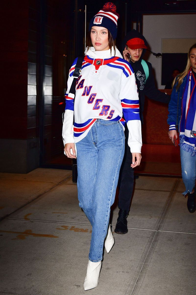 And Now Here S How Gigi And Bella Dress For A Hockey Game Whowhatwear Com Gaming Clothes Sports Attire Hockey Outfits