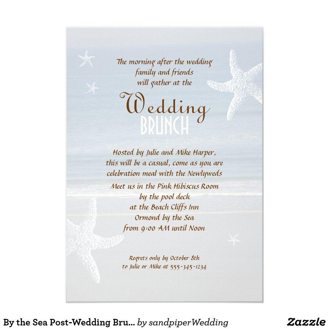 By The Sea Post Wedding Brunch Invitation Zazzle Com In 2020 Post Wedding Brunch Invitations Brunch Invitations Brunch Wedding