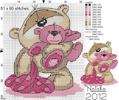 My Cross Stitch Gallery: G144 :: Fizzy Moon - Blue/ Pink Bear