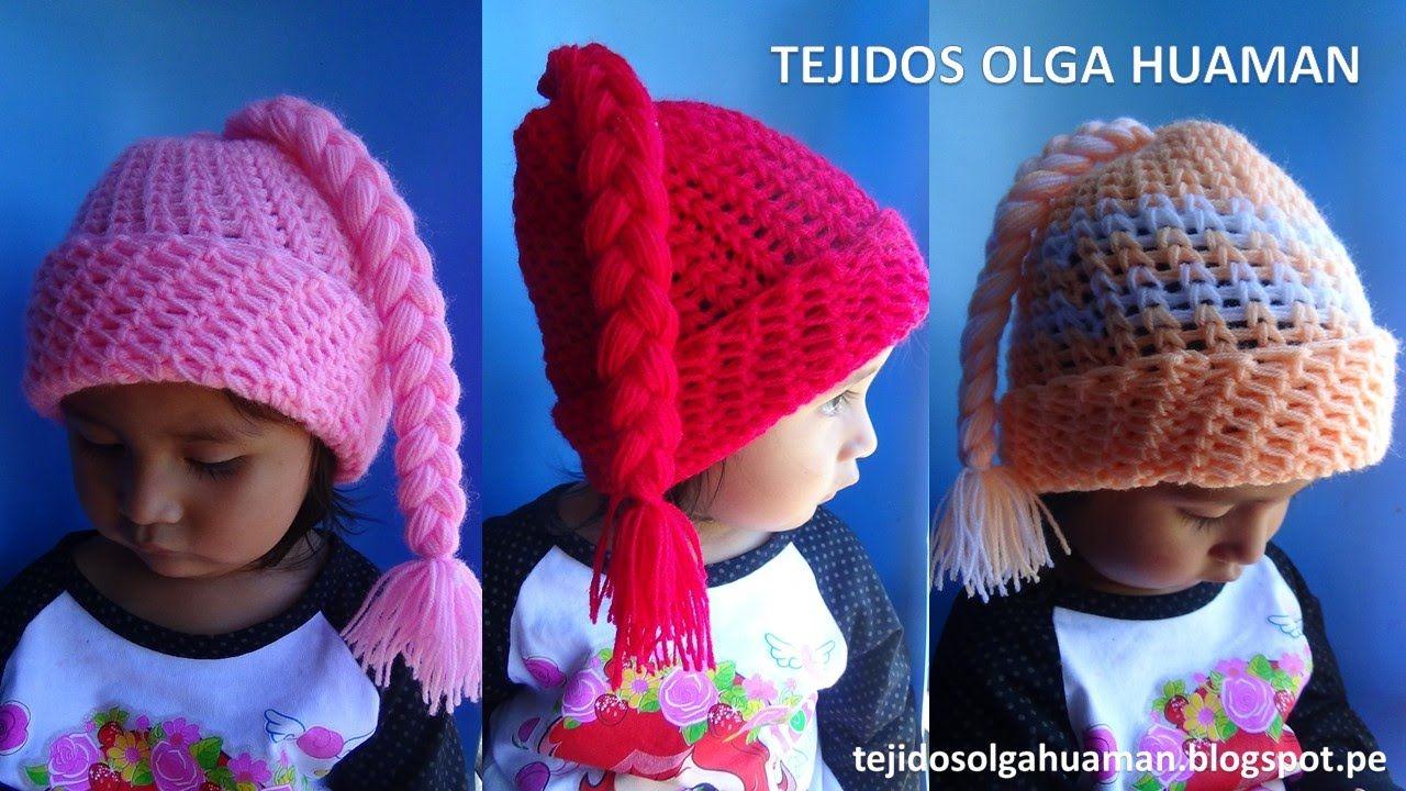 Gorro con trenza para bebe o niña tejido a crochet  3a56e189788