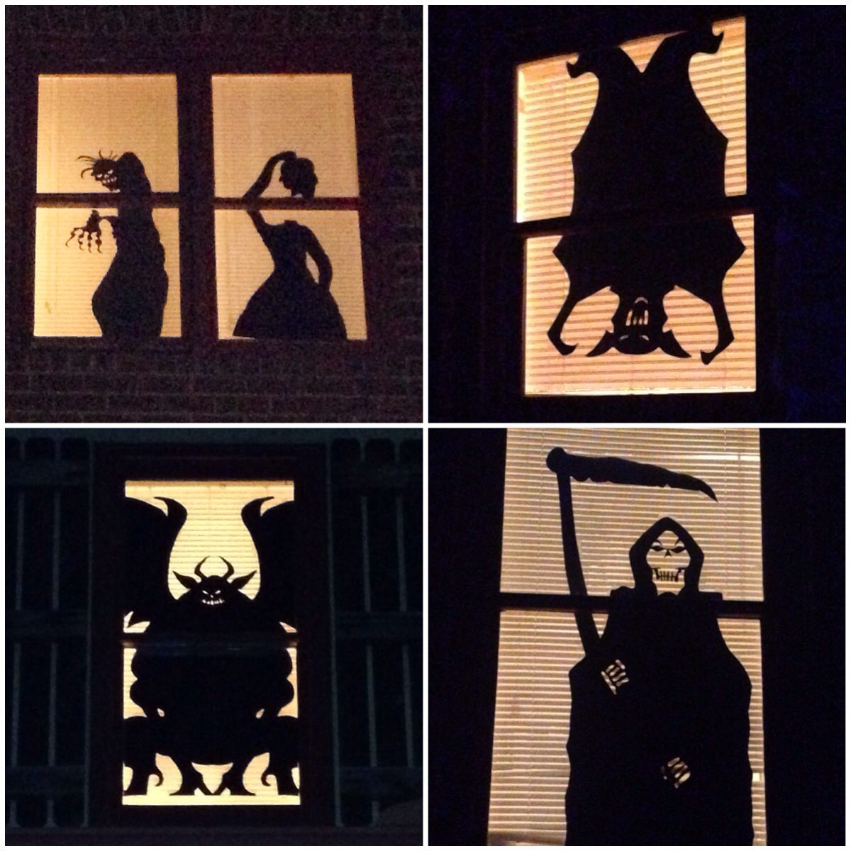 Our windows last Halloween Cut out shapes of black poster board and - halloween window decor