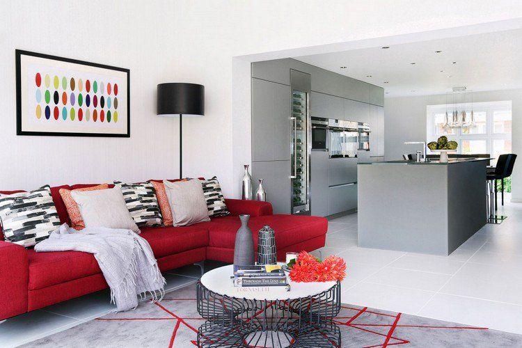 Idée déco salon en rouge - 30 photos sympas embellir espace | Idee ...