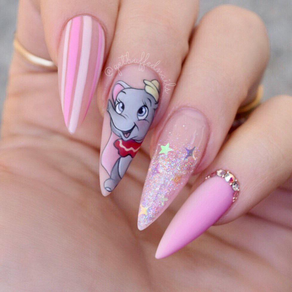 Disney inspired nails- Dumbo | Disney acrylic nails, Acrylic nails coffin pink, Long acrylic nails