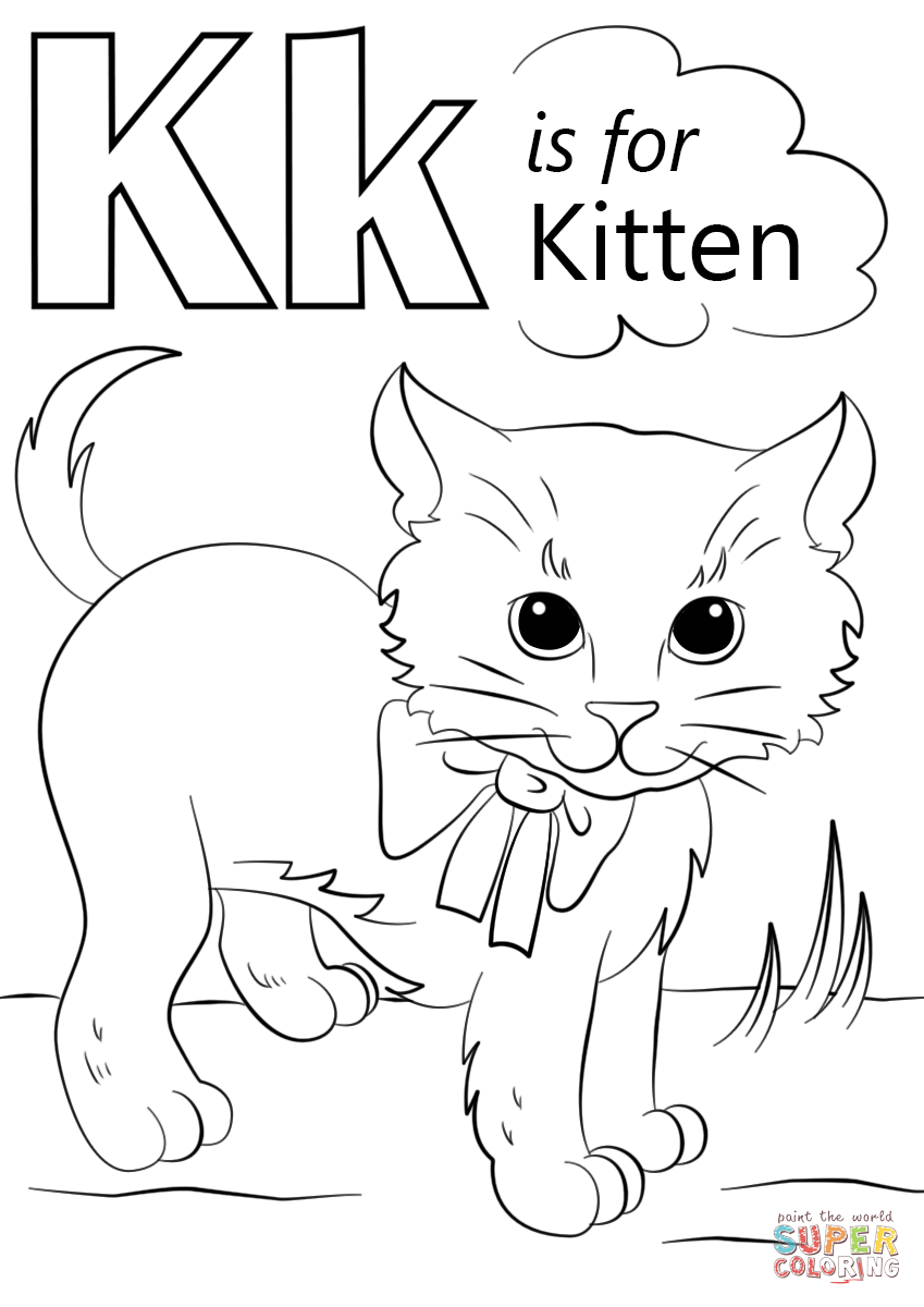 Letter K Is For Kitten Super Coloring Abc Coloring Pages Abc Coloring Alphabet Coloring Pages