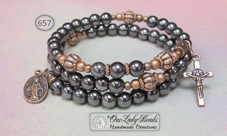 Menus rosary braceleturosary wrap braceletuhematite rosary bracelet