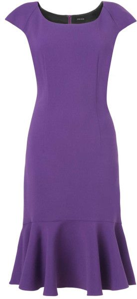Jaeger Purple Peplum Hem Dress