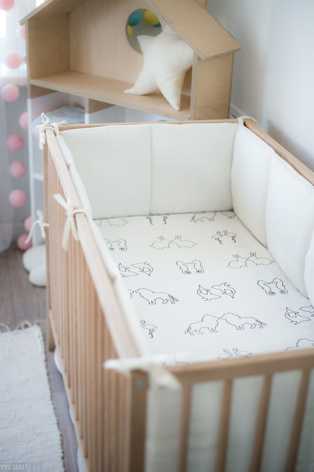 White Natural Linen Baby Bumper Natural Baby Bedding White Cot