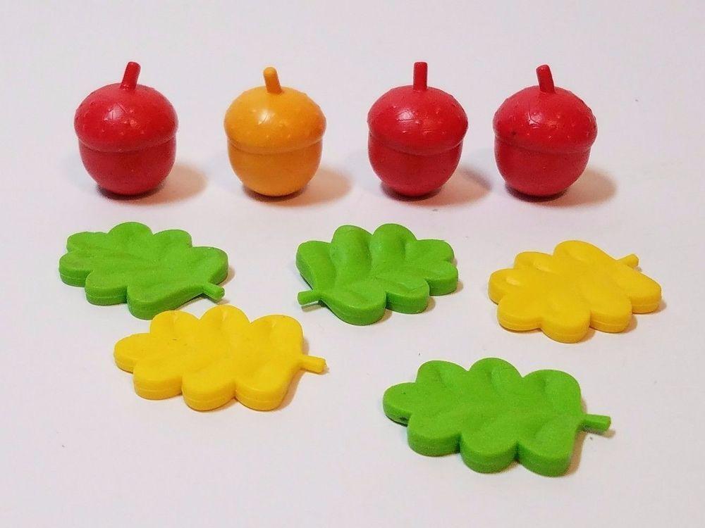 9 Rubber Plastic Vinyl Miniature Acorn Nut Leaf Fall Educational Toy Lot Piece