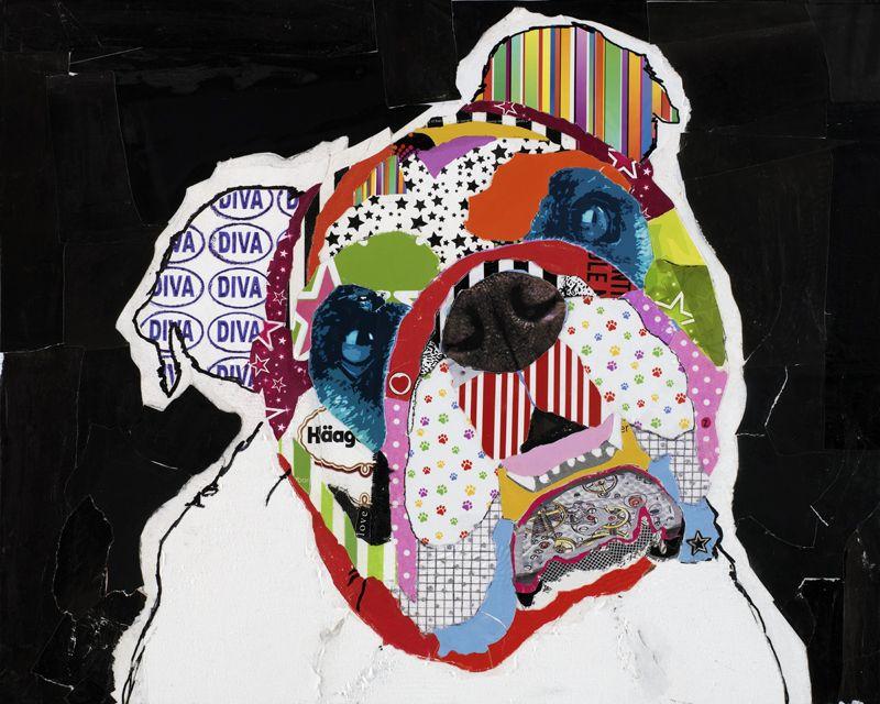 ZELDA – English Bulldog Collage by Keck   Pop art, Portrait and ...