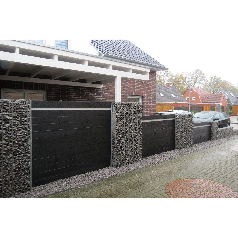 wpc gartenzaun set in anthrazit 200cm hausbau. Black Bedroom Furniture Sets. Home Design Ideas