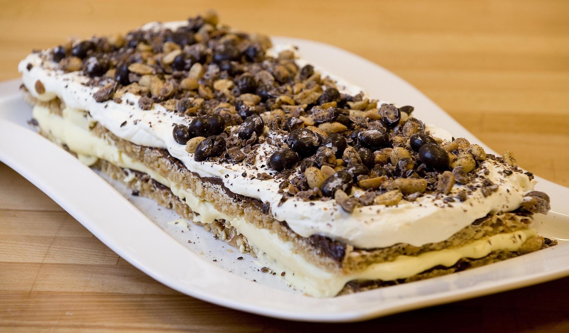"""Denne kaken har navn som ritzkake, peanøttkake eller snickerskake, navnet skjemmer ingen. Denne kaken kunne like gjerne vært kalt """"snopekake"""". Kilde: Ellen-Christine Lendengen"""