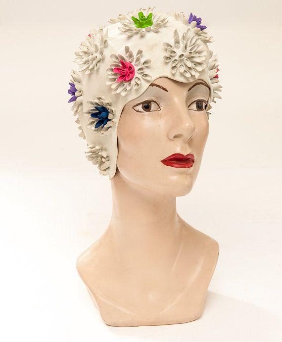 Women s Vintage 1950s PLAYTEX Flowered Latex BATHING CAP. Excellent ... 976cebe83b