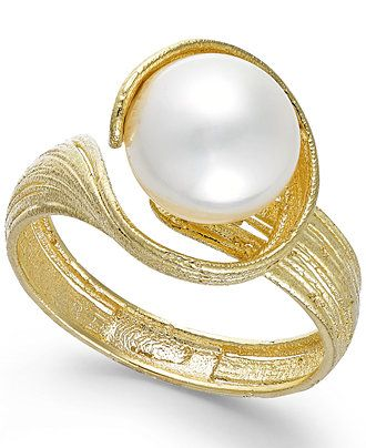 Cultured Freshwater Pearl Twist Ring in 18k Gold over Sterling Silver (8mm) - Rings - Jewelry & Watches - Macy's