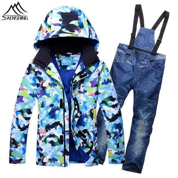 3d331a735fb SAENSHING Cheap Ski Suit Men Snowboarding Suits Waterproof Warm Denim Ski  Trousers Suspenders+Snowboard Jacket New Skiing Sets.  BlackFriday ...