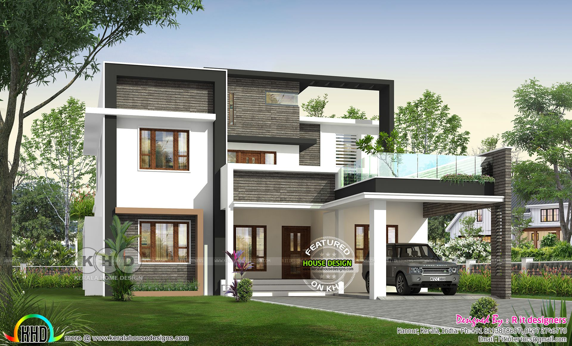 4 Bedroom 3250 Sq Ft Modern House Plan Kerala House Design Modern House Plan House Plans