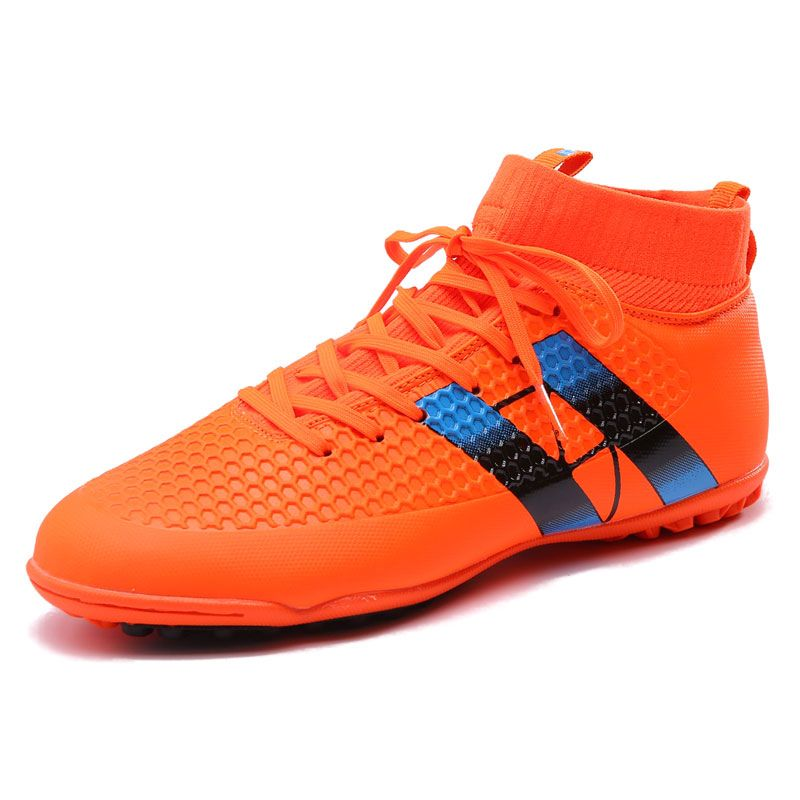 2016 New Football with Ankle Boots Black/Green/Orange Child Football Shoes  Ankle Football